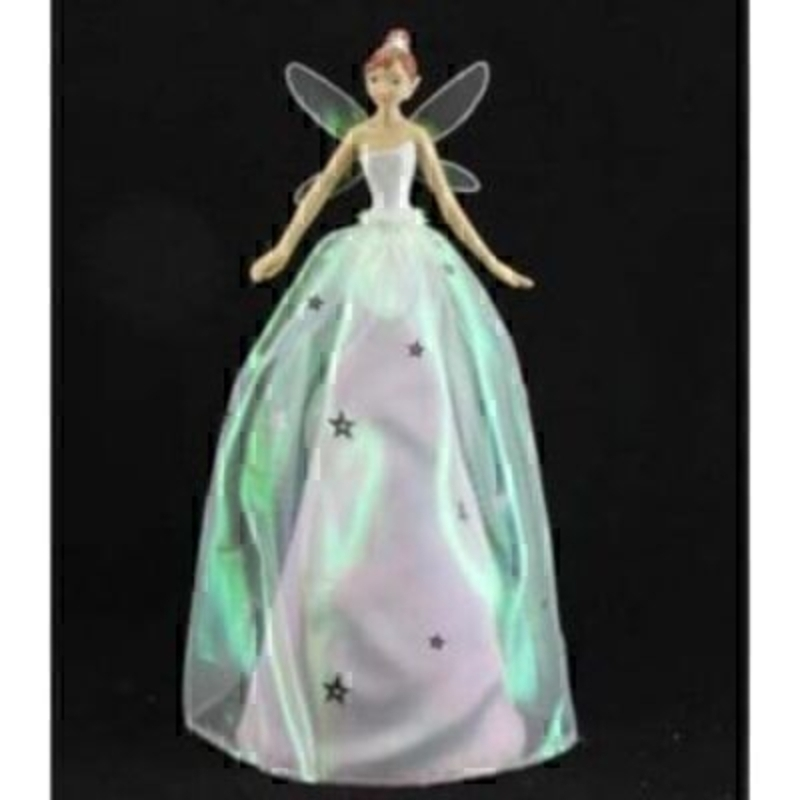 Quality iridescent Christmas Tree Top Fairy by designer Gisela Graham. Iridescent fairy wings with a resin body and fabric dress. This Gisela Graham tree topper would be sure to finish off your Christmas Tree perfectly. Size 28cm<br><br>