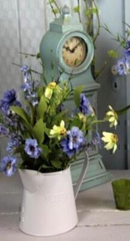 Jug of Yellow Blue Artificial Meadow Flowers by Bloomsberry: Booker Gifts