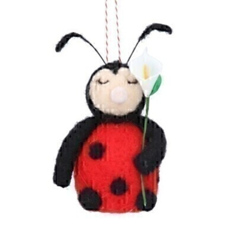 If you are looking for some Easter decorations for your Easter Tree then be sure not to miss this cute Ladybird holding a calla lily hanging decoration by designer Gisela Graham. This red wool mix ladybird would be a lovely Easter present for anyone.  Comes complete with string to hang on your Easter Tree.