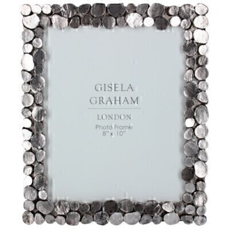 This large pewter picture frame features a pebble design and fits a 8 x 10 inch photo. Made by London based designer Gisela Graham who designs really beautiful gifts for your home and garden.  This pebble photo frame would suit any home decor and would make a lovely gift. Matching smaller photo frame also available.