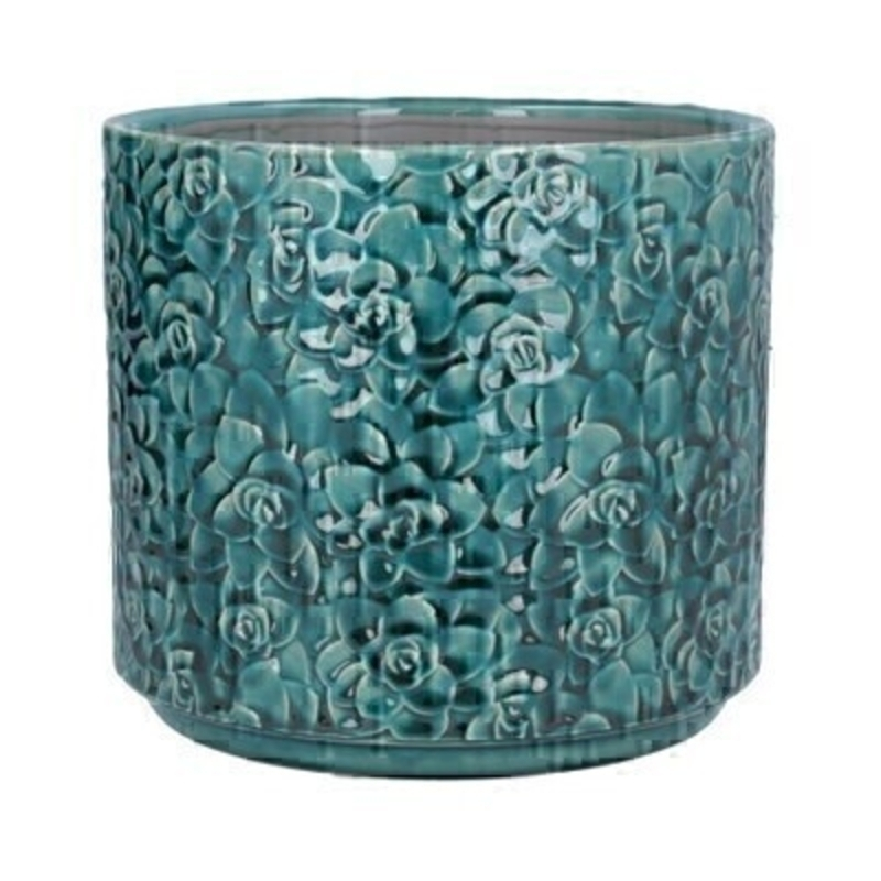 Large Teal ceramic pot cover with Succulent design by the designer Gisela Graham who designs really beautiful gifts for your home and garden. Suitable for an artifical or real plant. Great to show off your plants and would make an ideal gift for a gardener or someone who likes plants. Also comes available in other colours and other sizes. This is the Large pot cover.