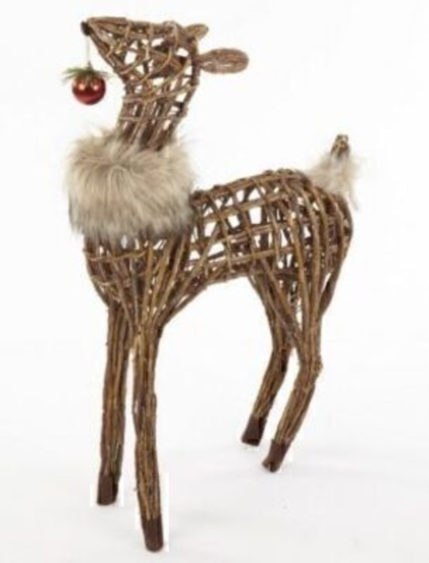 Large Wooden Deer Ornament With Bauble By Heaven Sends: Booker Gifts