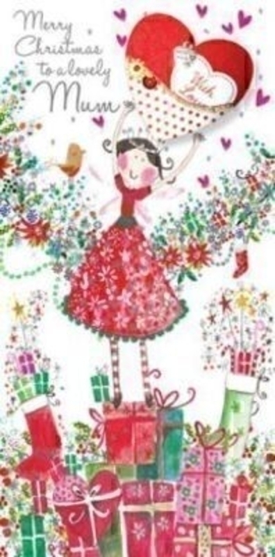 Lovely Mum Handmade Christmas Card - Fairy and Presents by Paper Rose. Picture is a Christmas Fairy on top of a pile of presents with a robin, foiled with applique heart with beads sequin and charms. Comes with a red envelope. With 'Merry Christmas to