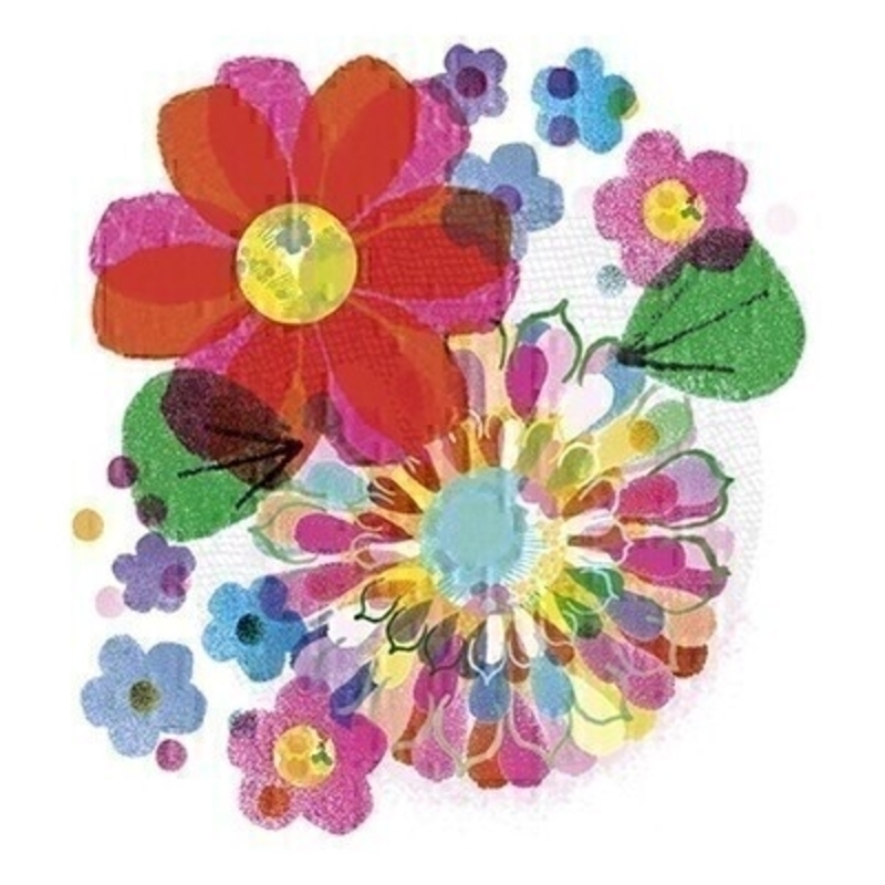 Bright flowers blank greetings card with envelope. This bright card with flowers is blank inside for you to write your own message.  Perfect for birthdays get well or just because.