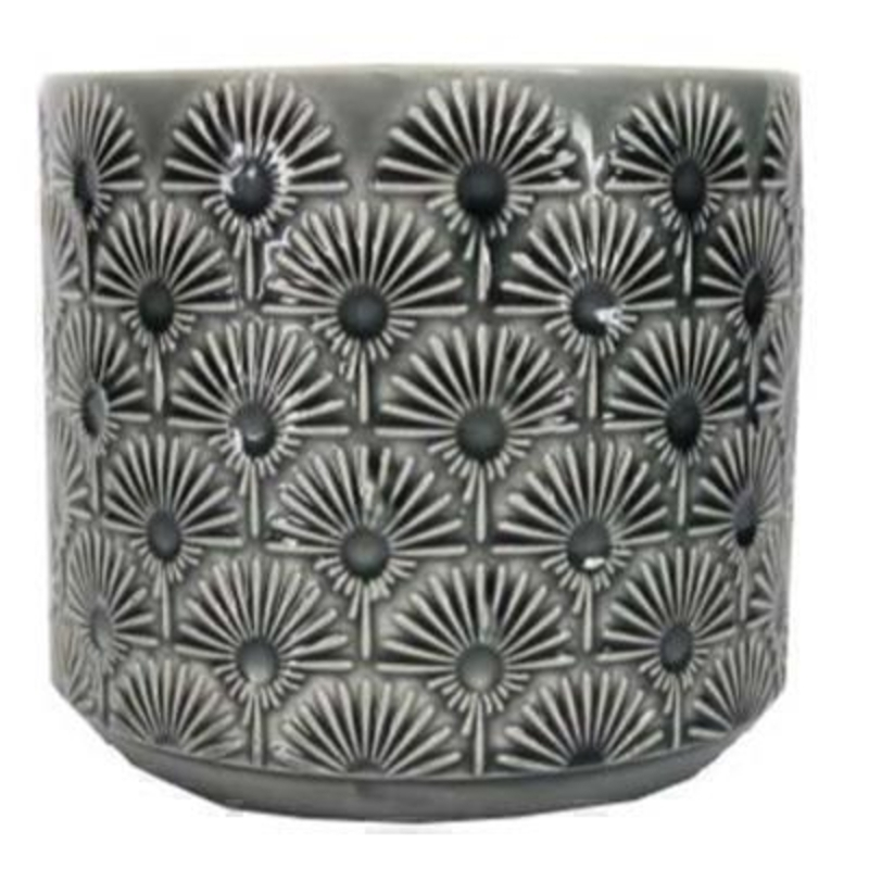 Medium Charcoal Fan Pot Cover By Gisela Graham Gifts