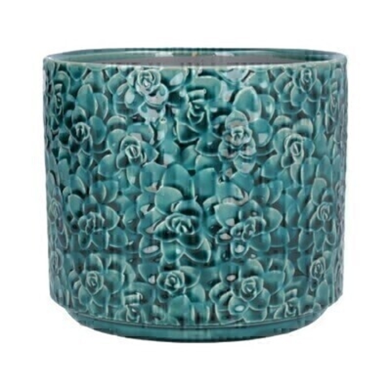 Medium Teal ceramic pot cover with Succulent design by the designer Gisela Graham who designs really beautiful gifts for your home and garden. Suitable for an artifical or real plant. Great to show off your plants and would make an ideal gift for a gardener or someone who likes plants. Also comes available in other sizes. This is the Medium pot cover.