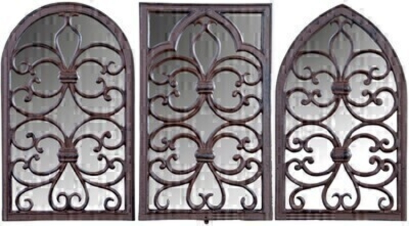<p>Window Frame and Mirror from Fallen Fruits. Cast Iron mirror - Available in rectangle half round and gothic shapes. Set of Three. Dimensions 27.9 x 2.5 x 44.4 cm</p>