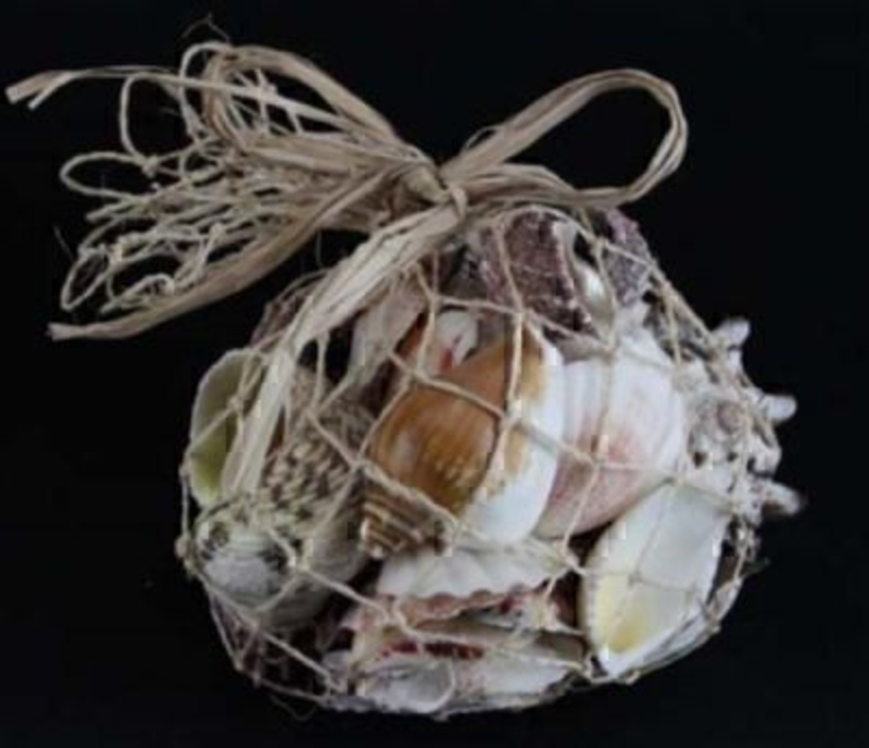 Mixed Shell In Net Bag by Gisela Graham. This bag of mixed Sea shells by Gisela Graham would make a great decorative finish to a beach / sea theme bathroom. Weight Approx. - 500g. Netted size approx. 11x11x10cm