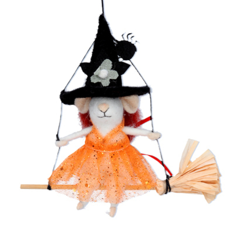 Spook your Halloween guests with this halloween mouse dressed up as a witch sitting on a broom swing by designer Gisela Graham made from wool.  This hanging Halloween mouse will make a great addition to your halloween decorations.