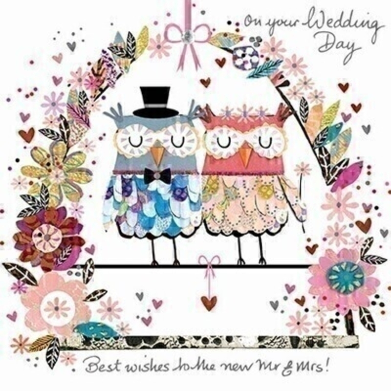 This Wedding greetings card from Paper Rose is decorated with a 3D pink Mrs Owl and a 3D blue Mr Owl sitting on a love swing decorated with flowers with ON YOUR WEDDING DAY BEST WISHES TO THE NEW MR AND MRS written in siver on the front. The card is perfect to send to someone celebrating getting married and it has Wishing  you both a very happy future together written on the inside. Comes complete with a silver envelope.