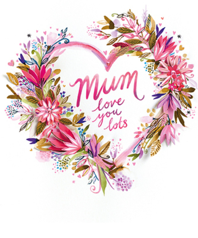 This Mothers Day greetings card from Paper Rose has a pretty floral heart with MUM Love You Lots written on the front. The card is perfect to send to someone to celebrate Mothering Sunday.  It has Happy Mothers Day written on the inside and comes complete with a pink envelope.