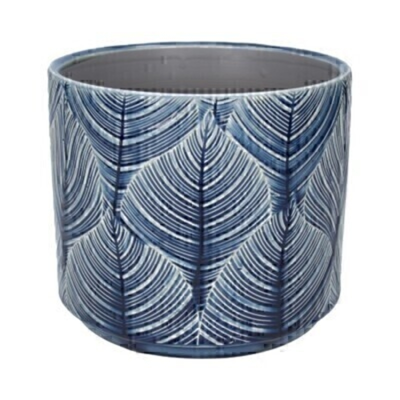 Leaf ceramic pot cover in Navy by the designer Gisela Graham who designs really beautiful gifts for your home and garden. Suitable for an artifical or real plant. Great to show off your plants and would make an ideal gift for a gardener or someone who likes plants. Also comes available in other colours and sizes. This is the medium pot cover.