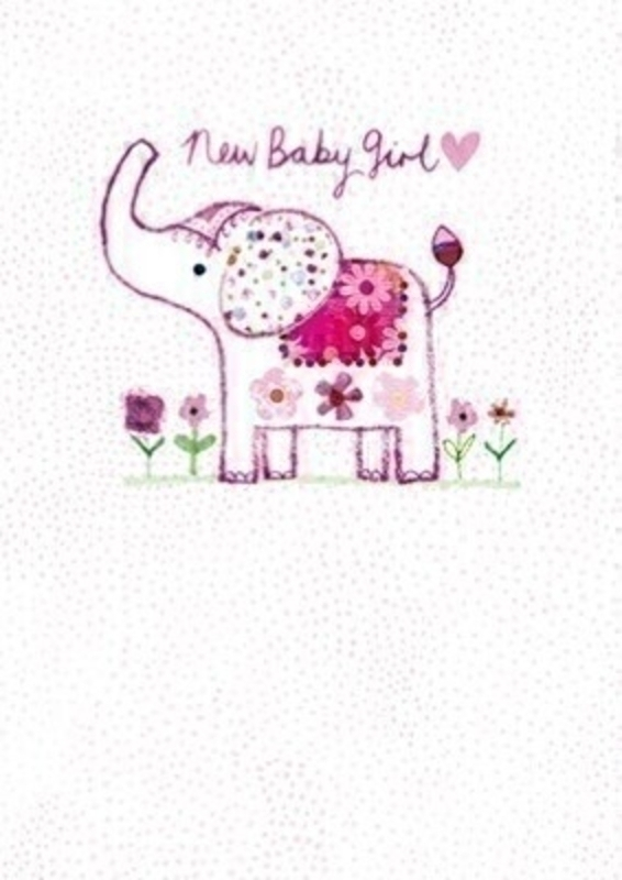 This New Baby greetings card features a cute pink elephant with the writting New Baby Girl on the front from Paper Rose.  The card has Congratulations on your new arrival written inside and comes complete with a pink envelope perfect to send to someone to congratulate them on the birth of their new baby girl.