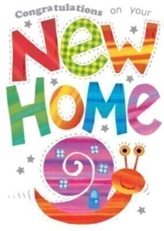 New Home Card Snail by Paper Rose. This quality greeting card depicts a snail and has hot foil stamping and glitter detailing. It says Congratulations on your New Home on the front with Congratulations on the inside. Comes with a blue envelope. Size 17x12cm