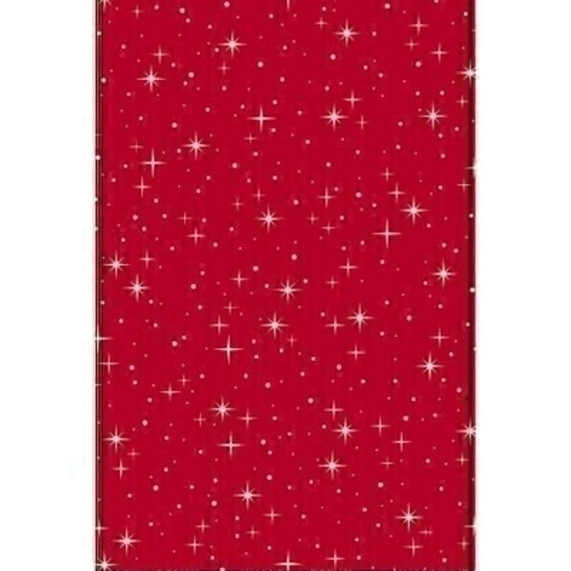 Traditional red Christmas wrapping paper covered with bright stars. Approx size 1.5m