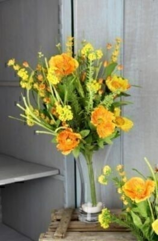 Vase Not Included. Bouquet of Orange and Yellow Artificial Meadow Flowers by Bloomsbury. Can also be called silk flowers the quality of these artificial flowers by Bloomsbury is second to none. For Realistic fake or silk flowers Bloomsbury are the perf