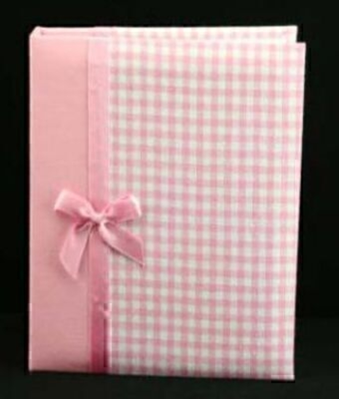 Pink Gingham with bow Photo Album by Gisela Graham. A perfect gift for a baby girl. Holds 72 4
