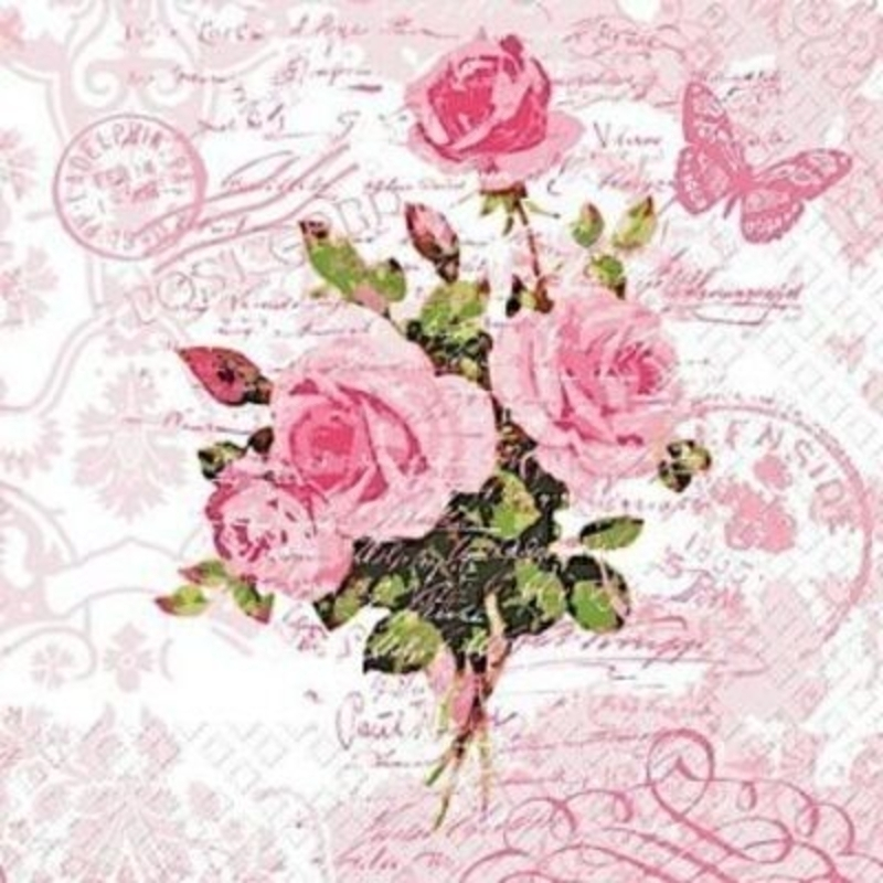 Pink Vintage Rose Fleur Napkins By Stewo: Booker Gifts