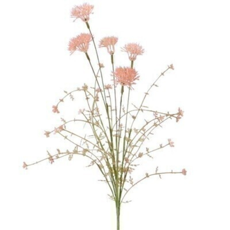 A realistic faux pink thistle and wildflower artifical flowers. The artifical pick can be arranged into a pot or vase. made by the Londer designer Gisela Graham who designs really beautiful gifts for your home and garden. Would make an ideal gift. Would look good in any home and would suit any decor.