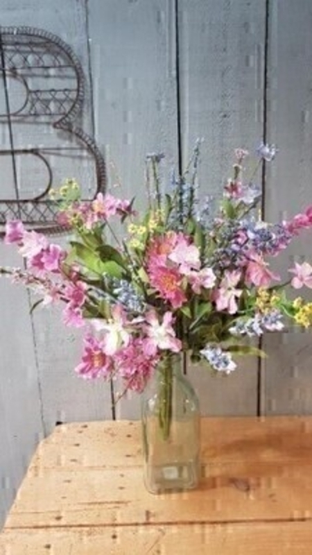 Pink and blue  artificial meadow bouquet by Bloomsberry. *Vase not included*  These stunning silk flowers give the impression they have just been hand picked from a meadow especially for you. For realistic artificial and silk flowers Bloomsberry is second to none.