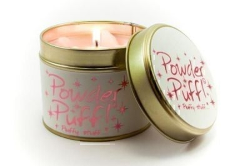 Let Lily Flame scented candles transport you to a different place. Powder Puff - Fluffy Stuff. Light, soft and talcy. Super Girly. Some might say a little camp. The labelling features metallic pink graphics on sparkly white paper. Burn Time 35 hours. D
