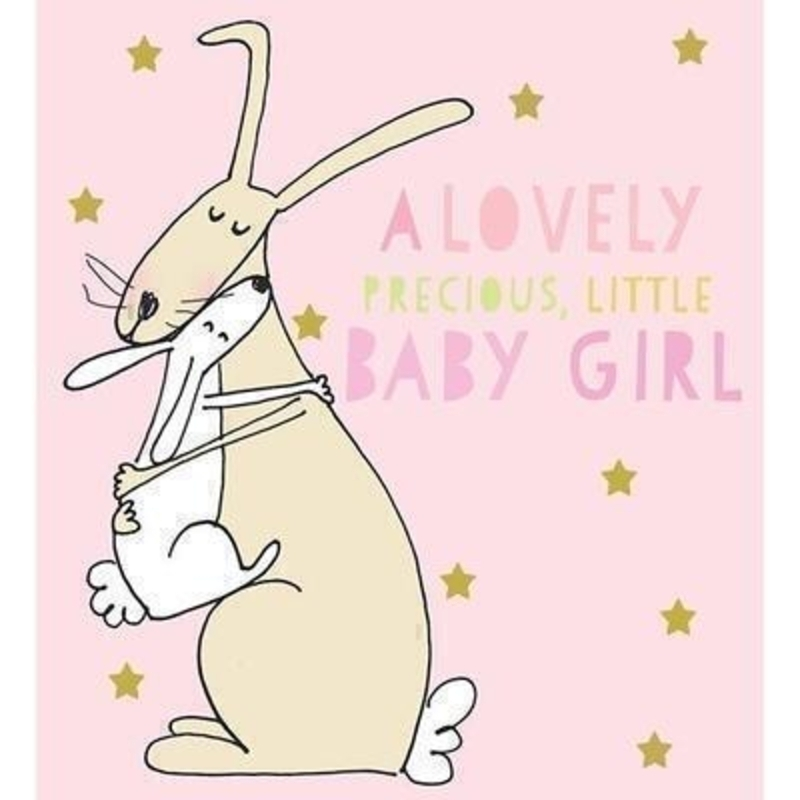 Rabbits Cuddling Baby Girl card by Liz and Pip: Booker Gifts