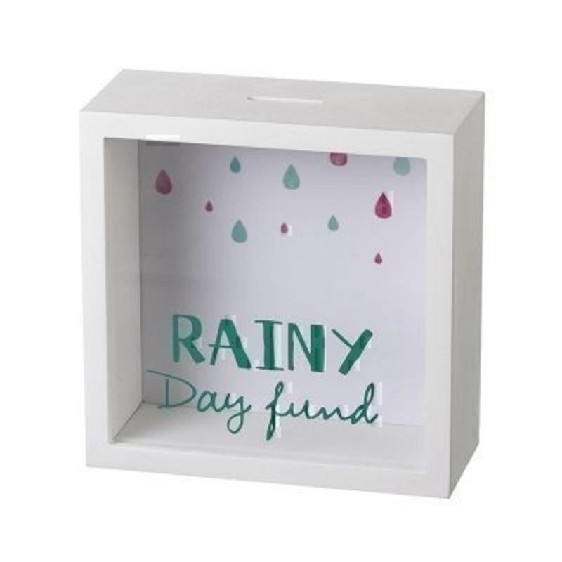 This Rainy Day See Through Money Box by Heaven Sends would be great for someone saving for something special. Featuring a white case and a rainy coloured backdrop the front of the money box is see through with the words Rainy Day Fund written on it so that you can see your savings piling up A great gift for a child teenager or an adult. Save up your Rainy Day Fund with this moneybox. Size: 18x7x18cm