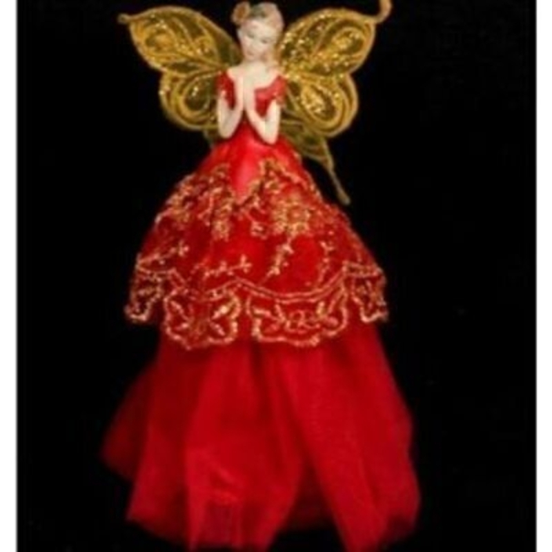 Beautiful red and gold Christmas Fairy tree topper decoration by the designer Gisela Graham. Small fairy style tree topper. Gold wings with a red dress decorated with a gold design. A magical tree top decoration to suit a traditional Christmas theme. Size 23x13x8cm