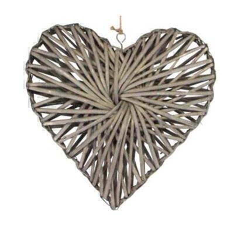 Rustic woven Willow love heart hanging decoration by Gisela Graham. This vintage style heart would make a beautiful gift for a wedding or to a loved one. Size 41x41x10cm