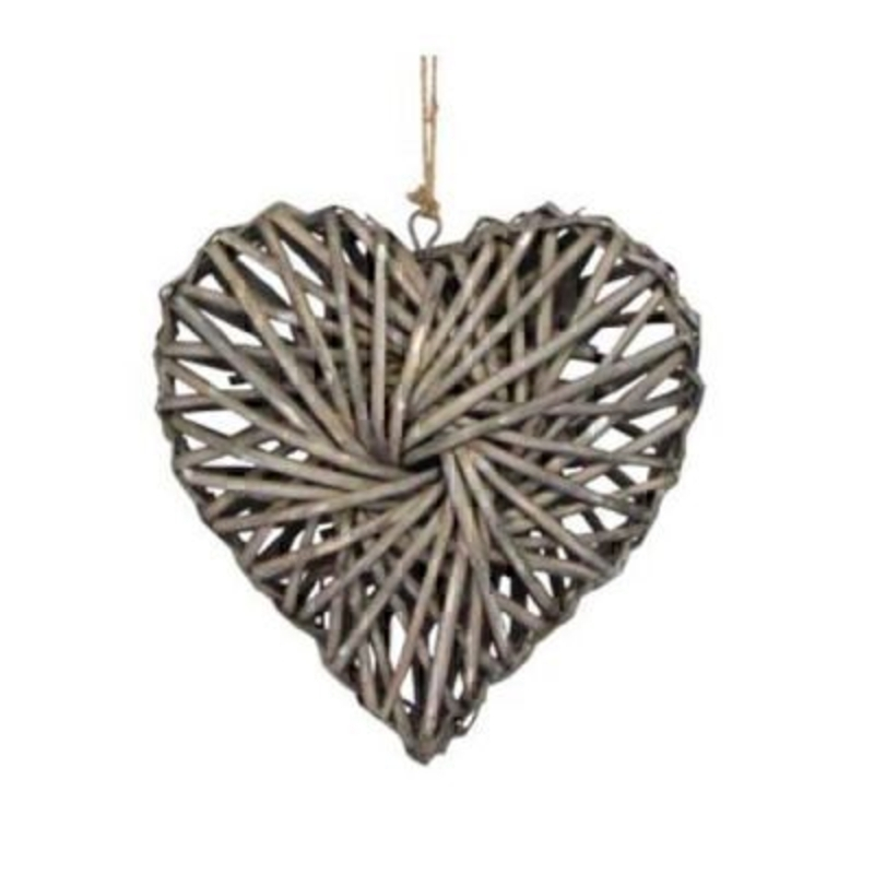 Rustic woven Willow love heart hanging decoration by Gisela Graham. This vintage style heart would make a beautiful gift for a wedding or to a loved one. 24x24x7cm