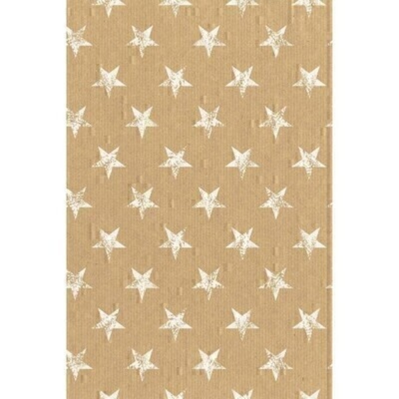 Quality Christmas gift wrap with a craft paper look featuring white large stars. Approx sixe 2m