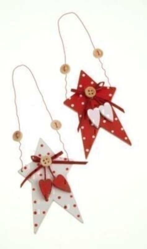Set Of 2 Dotty Stars Hanging Christmas Tree Decorations: Booker Gifts