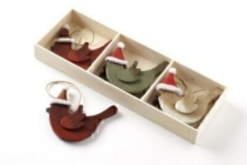 Set Of 6 Wood Birds With Santa Hat By Heaven Sends: Booker Gifts
