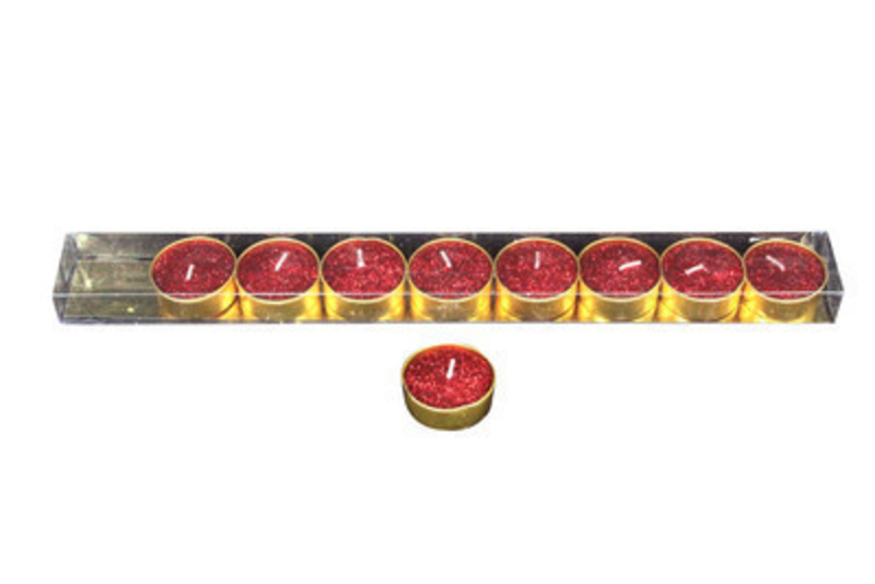 Light up your home with this set of 9 wax tea light candles in Glittery Red by designer Gisela Graham.