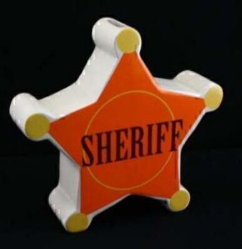 Sheriff Star Ceramic Money Box By Gisela Graham: Booker Gifts