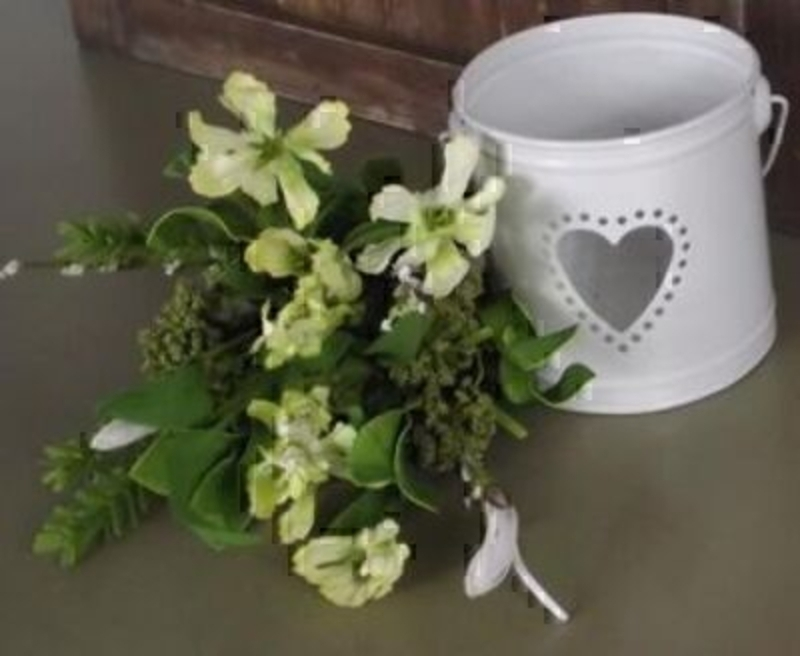 Small Bouquet Green and White Artificial Meadow Flowers: Booker Gifts