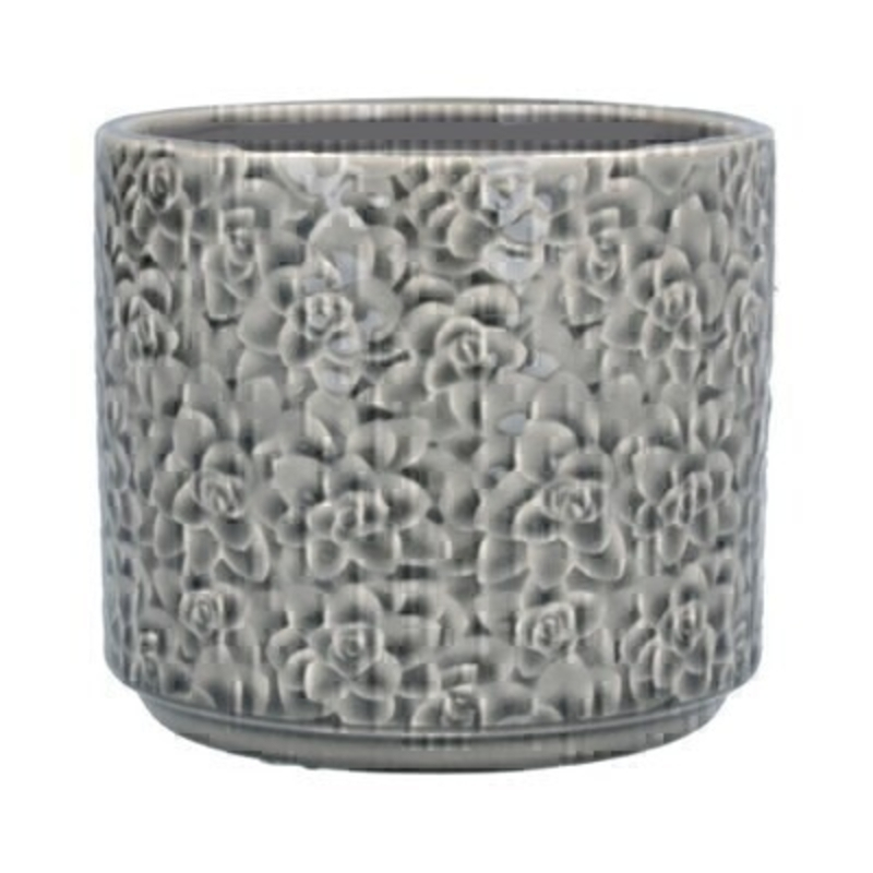 Small Grey ceramic pot cover with Succulent design by the designer Gisela Graham who designs really beautiful gifts for your home and garden. Suitable for an artifical or real plant. Great to show off your plants and would make an ideal gift for a gardener or someone who likes plants. Also comes available in other sizes. This is the Small pot cover.