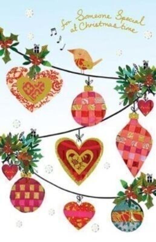 Someone Special Christmas Card Robin and Baubles by Artisan at Paper Rose. Design is embossed and foiled. Comes with a Red Envelope. Has 'For someone special at Christmas time' on the front and 'wishing you a magical Christmas and a wonderful New Yea