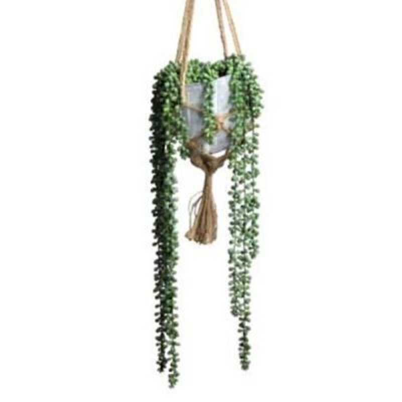 Trailing String of Pearls artificial succulent plant in hanging pot by Gisela Graham. This realistic fake plant is ideal for brightening up any room. Size15x78x15cm