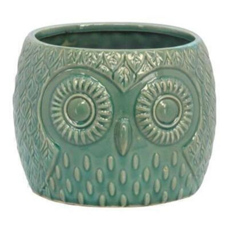 Shabby chic style teal ornamental ceramic owl flower pot cover by Gisela Graham. Use this charming owl to cover flower pots and hold utensils or just for decoration. Size 12cm