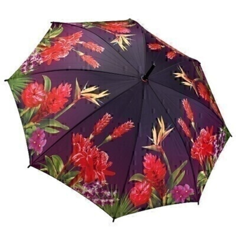 This wonderfully vibrant stick umbrella opens up to be very large providing plenty of coverage from the rain. A stunning  top selling range consisting of beautiful floral designs  with detailing and colours second to none. The illustrated design on the fabric features bright and vibrant tropical flowers covering the entire umbrella which makes it very eye catching! With virtually unbreakable fibreglass ribs it allows for flexibility in windy conditions.