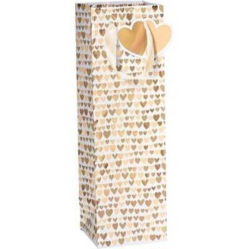 A white and gold heart patterned Nicoletta gift bag by Swiss Designer Stewo. With White ribbon handles embossed gold hearts and hot foil stamping this bag is perfect for those celebratory bottles of bubbles and has all the quality and detailing you woul