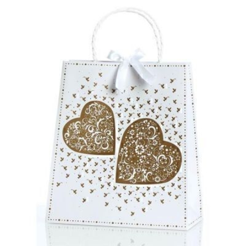 Seline Wedding Gift Bag By Stewo White with Gold Print of Heats and Doves. This quality gift bag by Swiss designers Stewo will not disappoint. It has all the quality and detailing you would expect from Stewo. This gift bag is made from thick card. Rop