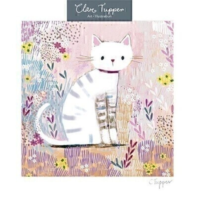 This blank greetings card features a white cat in a pink meadow of flowers. Designed by Clare Tupper from Avocado Designs.  This card is perfect to send to someone for any occasion and has been left blank inside so you can write your own message. It comes complete with an envelope and is a lovely card from Paper Rose.