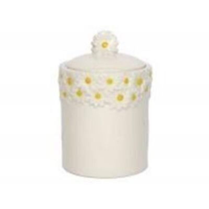 White Ceramic Daisy Pot by Gisela Graham. Off white ceramic pot with daisy pattern rim and lid holder. Seal around lid to keep contents fresh. Could be used as a small biscuit tin. Size 19x11cm