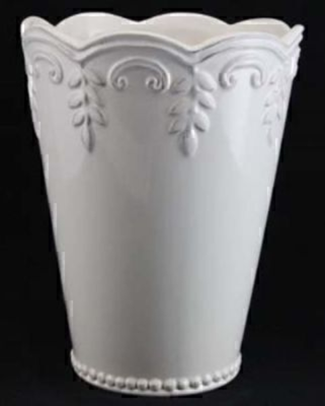 White Ceramic Embossed Fluted Vase by Gisela Graham: Booker Gifts