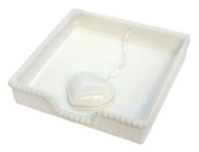 White Ceramic Heart Napkin Holder by Gisela Graham: Booker Gifts