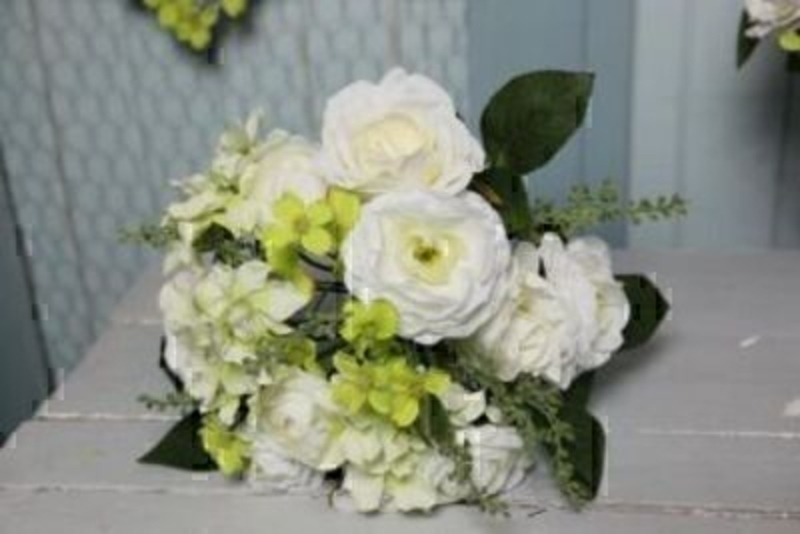 White and Green Artificial Rose Flowers by Bloomsbury: Booker Gifts