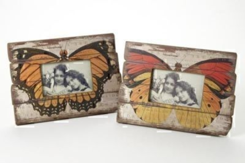 Wooden Butterfly Frame by Heaven Sends - Choice of 2. Shabby chic rustic look frame of a butterfly. Choice of Bright orange or muted orange if preference please specify when ordering. Size 31x22x1.5cm