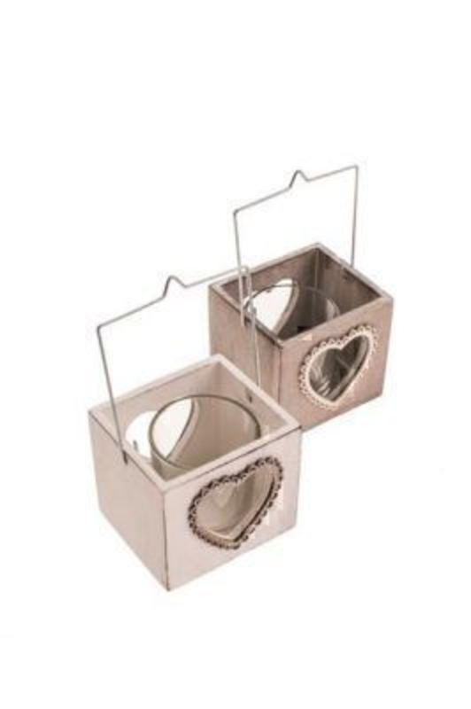Wooden Heart T-Light Holder by Heaven Sends Choice of 2. Beautiful shabby chic T -light holders wooden with heart design and glass T-light holder inside. Comes in cream and natural if preference please specify when ordering. 13x7.5x6.5cm
